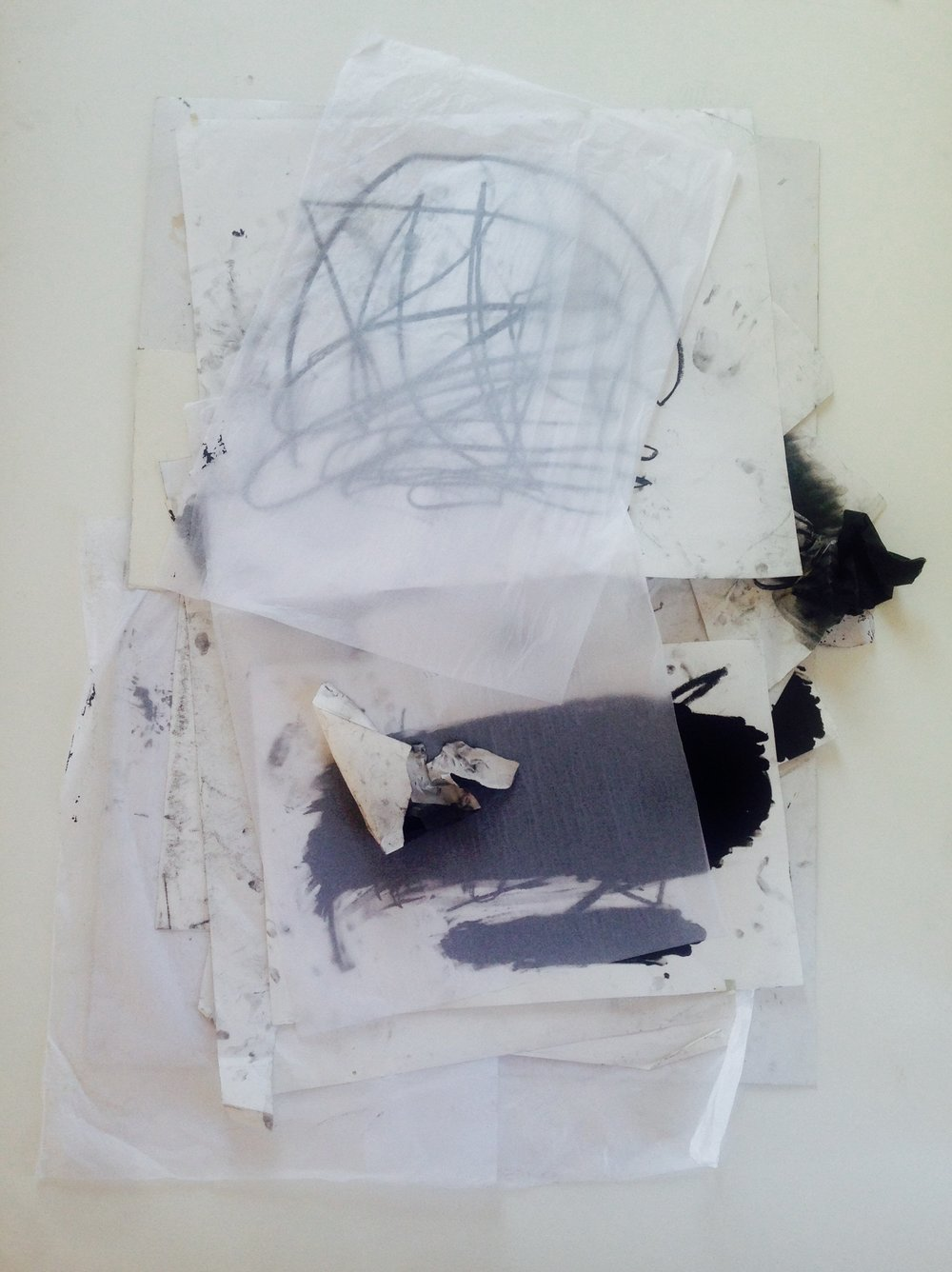 The Space Between my Eyelids  Drawing paper, tissue paper, acrylic, compressed charcoal