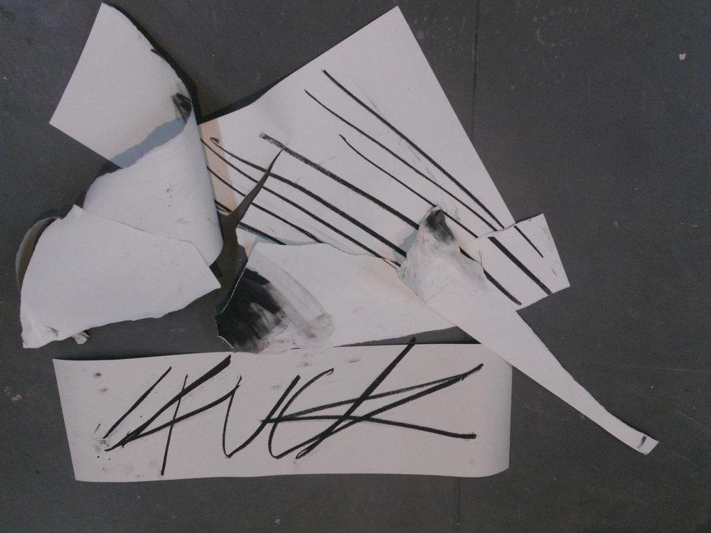 FUCK  Charcoal, lining paper, cartridge paper, lino floor