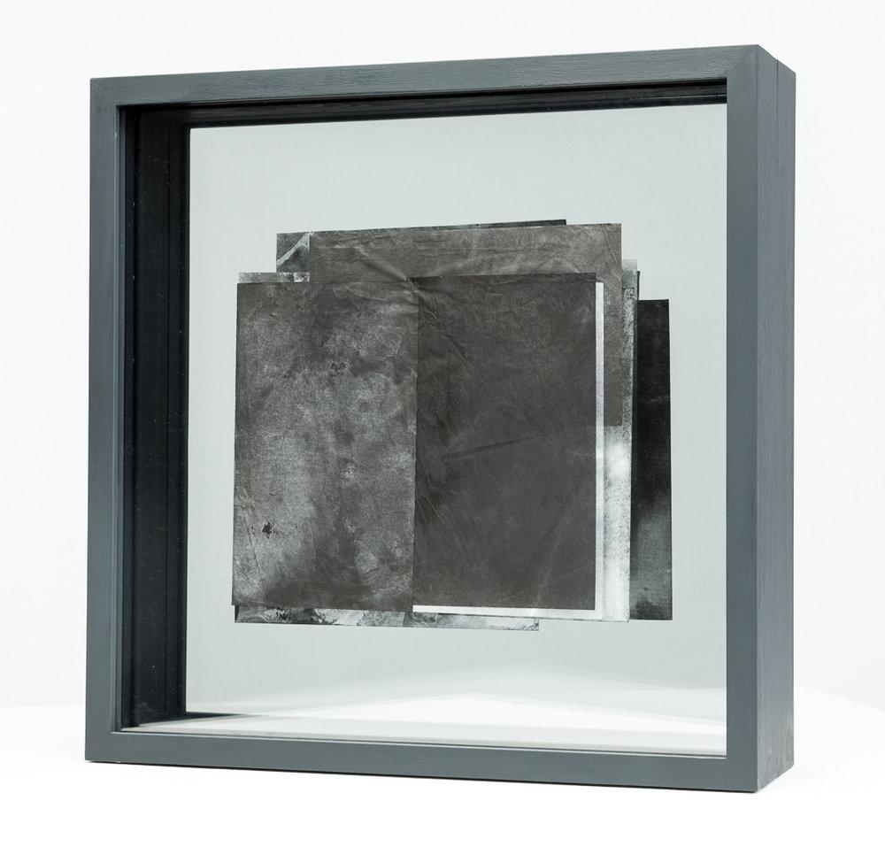 BLACK  Side 2: Pigment, oil, Japanese papers, glass, obeche, emulsion  51cm x 51cm x 14cm