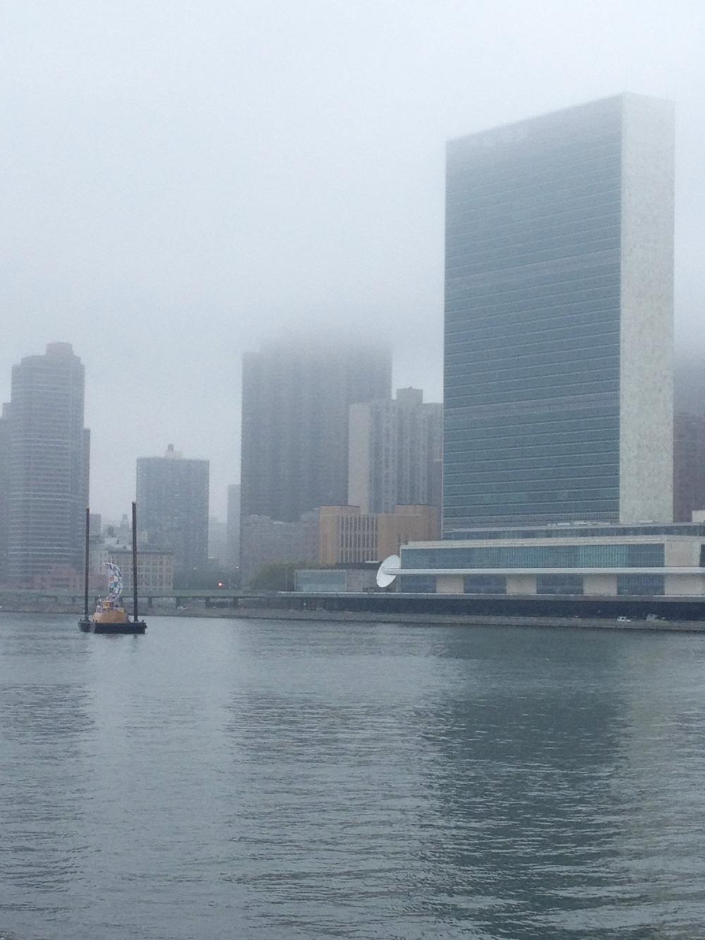 The Ship of Tolerance barged in the East River beneath the United Nations.