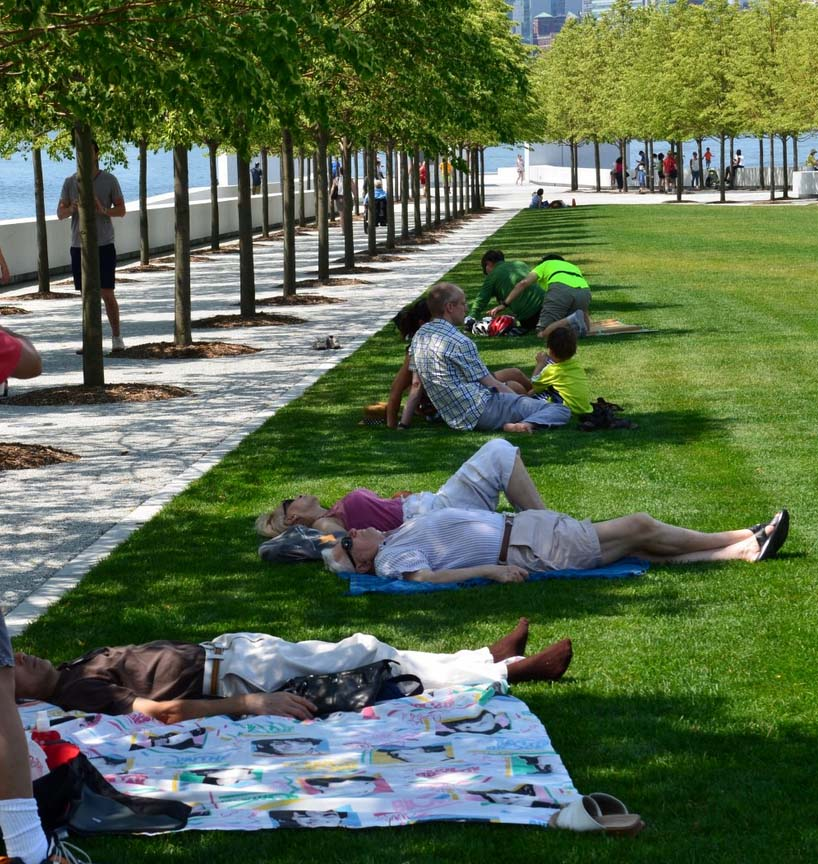 Park visitors pulled out their blankets and laid out on the lawn.