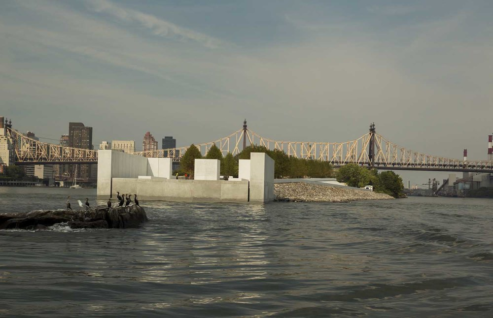 "Photo © 2012, Paul Warchol, U Thant Island in the East River, south of Franklin D. Roosevelt Four Freedoms Park ""Room."""