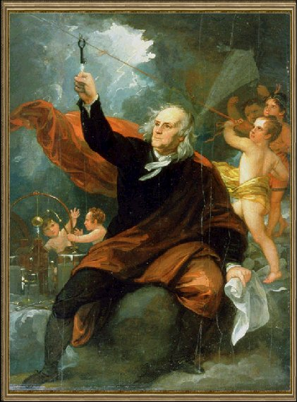 Benjamin Franklin Drawing Electricity from the Sky, by Benjamin West (1738-1820)