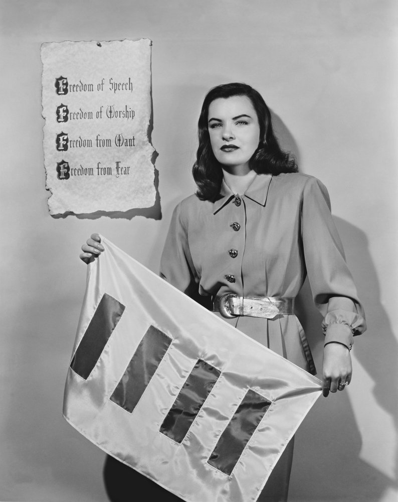 Actress Ella Raines supports the Four Freedoms