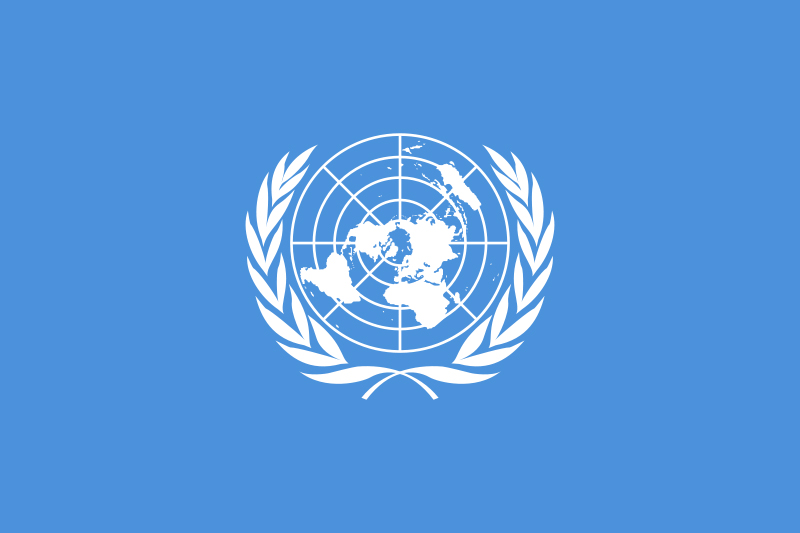 United Nations flag designed by Donal McLaughlin and Brooks Harding