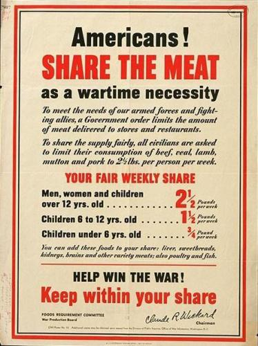 Poster asking Americans to conserve meat during the war. Library of Congress