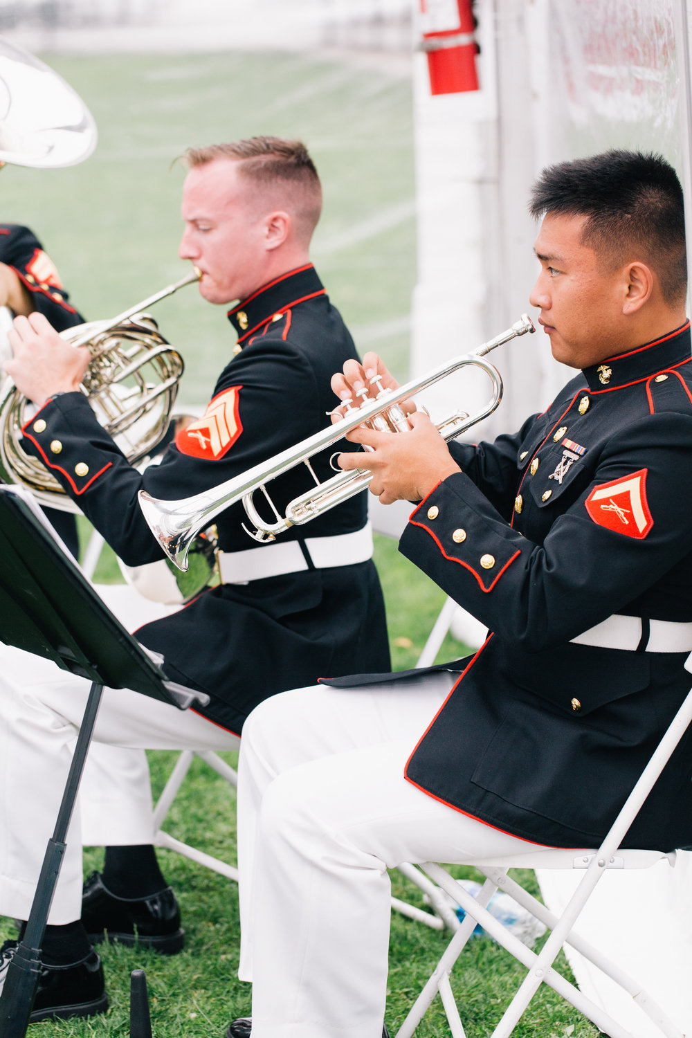 The United States Marine Corps Band of New Orleans performs.