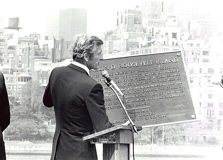 Mayor Lindsay at the rededication ceremony where Welfare Island was renamed Roosevelt Island.