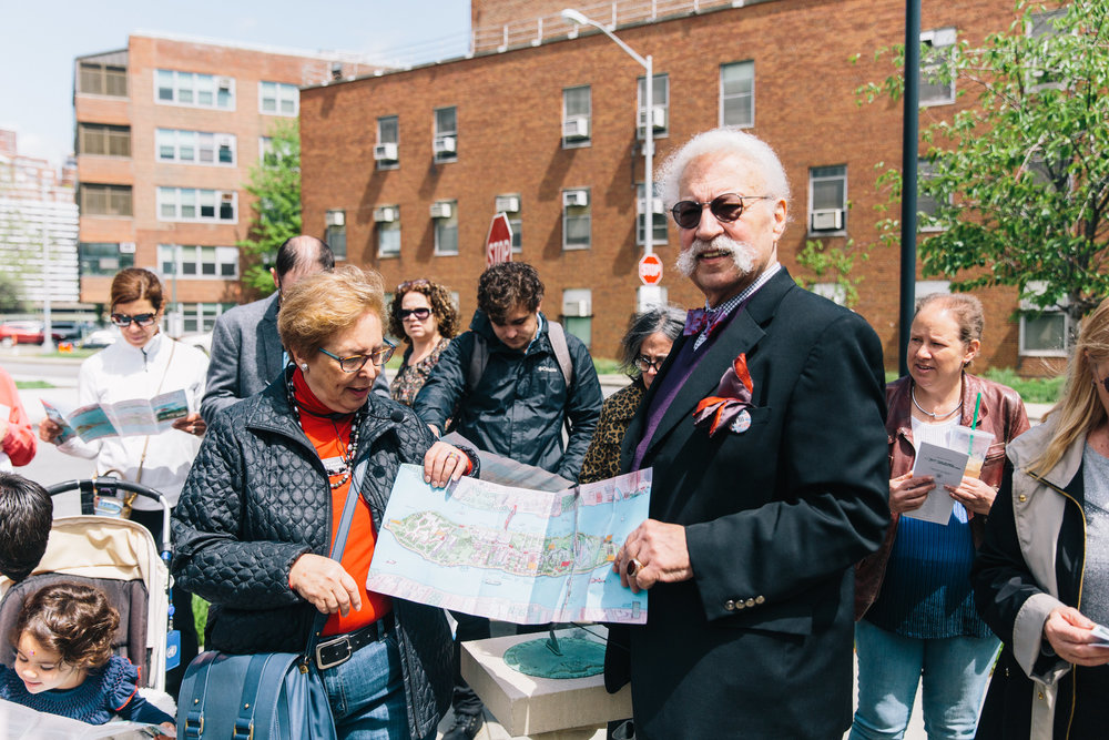 Ted Liebman leads a tour on the history of affordable housing on Roosevelt Island for Jane's Walk 2017.  Photo Credit: Rowa Lee.