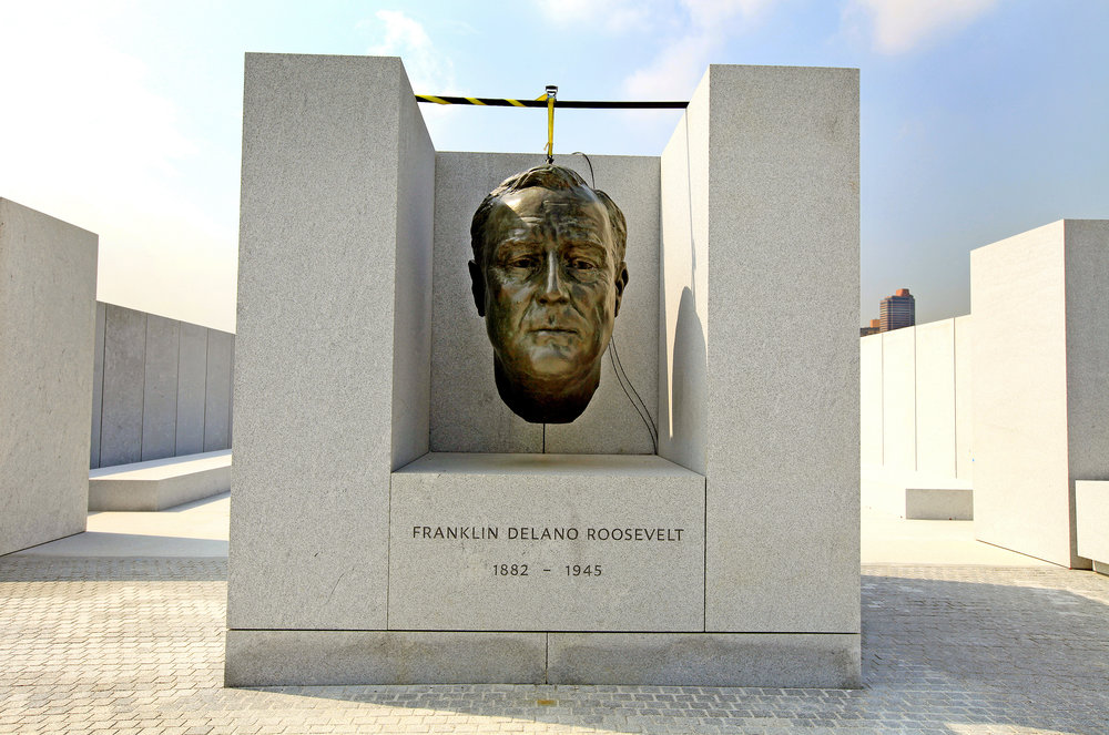 The FDR Sculpture bust shortly after installation. Photo by Brennan Photography, Four Freedoms Park Conservancy.