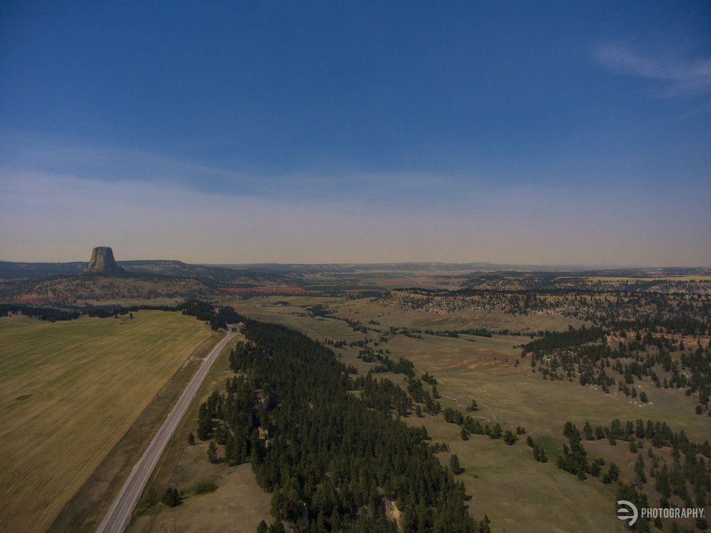 An aerial drone photo of Devils Tower as you approach from the south. You can see the monument from quite a distance and as you can see - it's place is unusual in it's surroundings, making it ... monumental! Sorry for the #DadJoke.