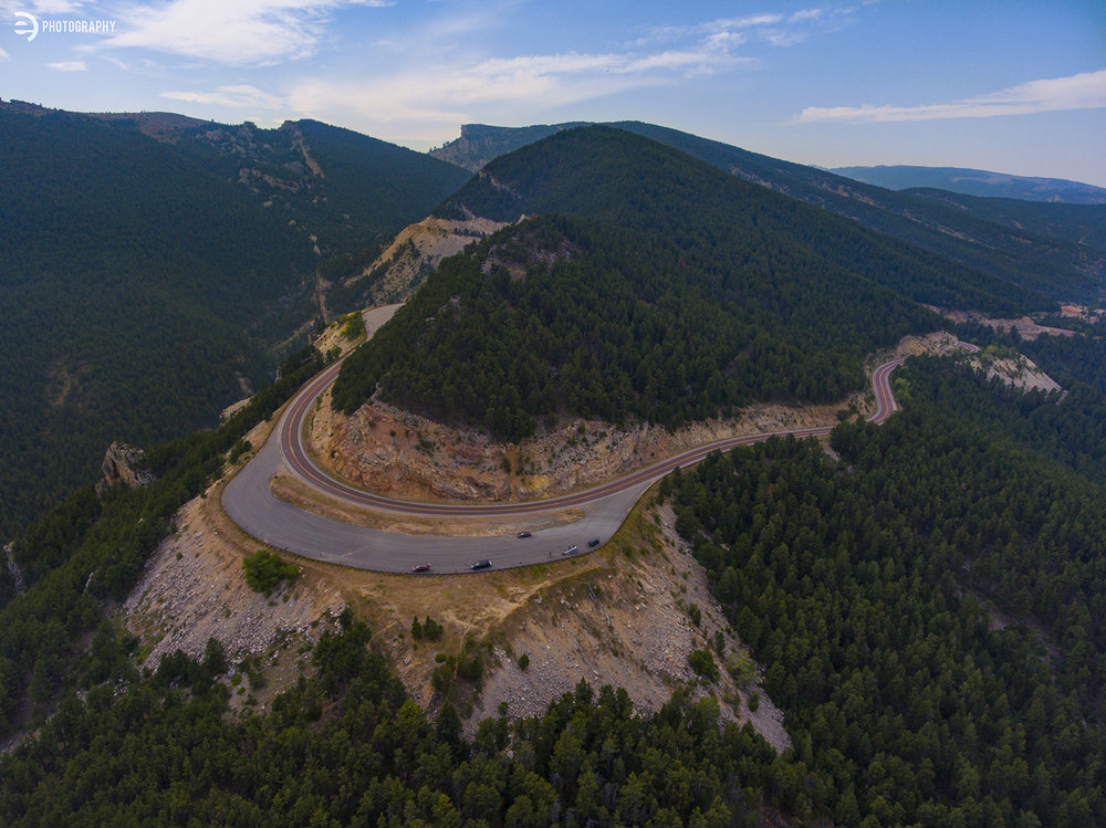 A quick shot back at the mountain, showing our elevation and the reverse view of the last drone photo.