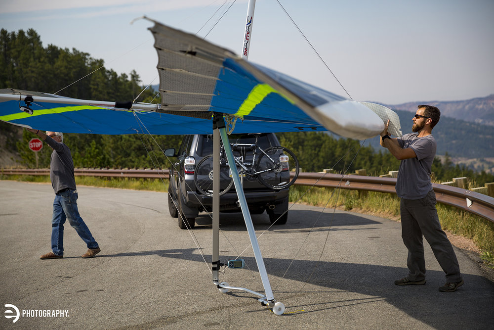 A hang glider preparing for flight.