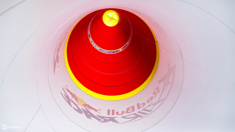 Looking up the inside of a Red Bull Air Race pylon.