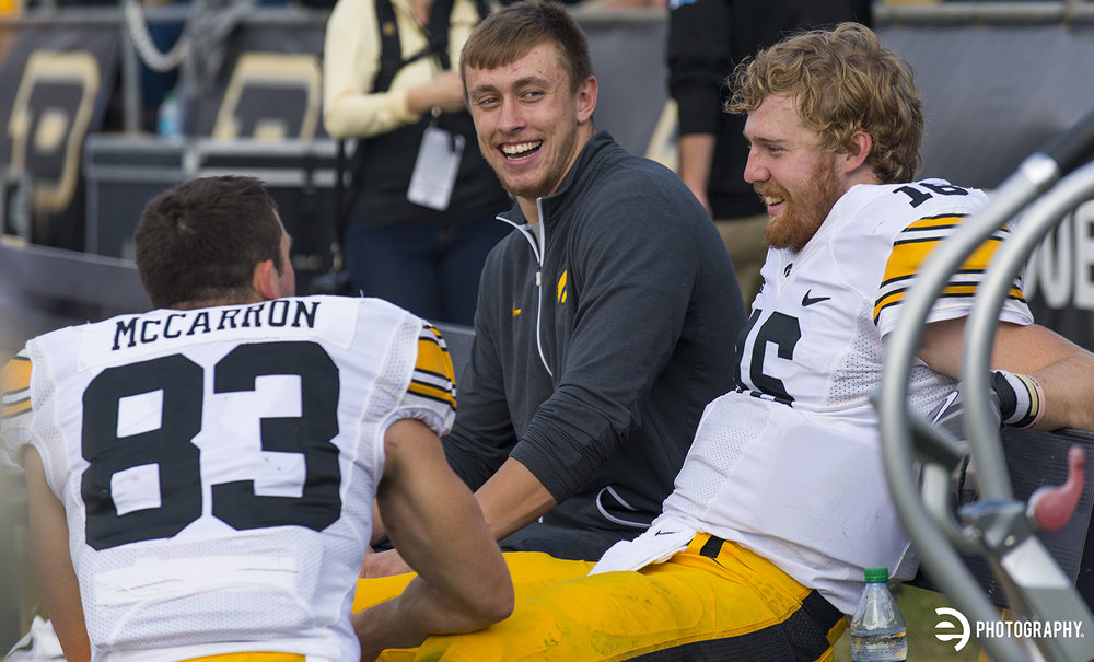 Some satisfied faces after a solid win from QB CJ Beathard and WR Riley McCarron.