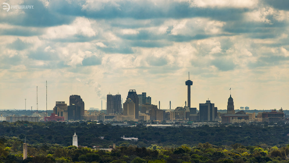The downtown San Antonio skyline as seen from Castle HIlls.
