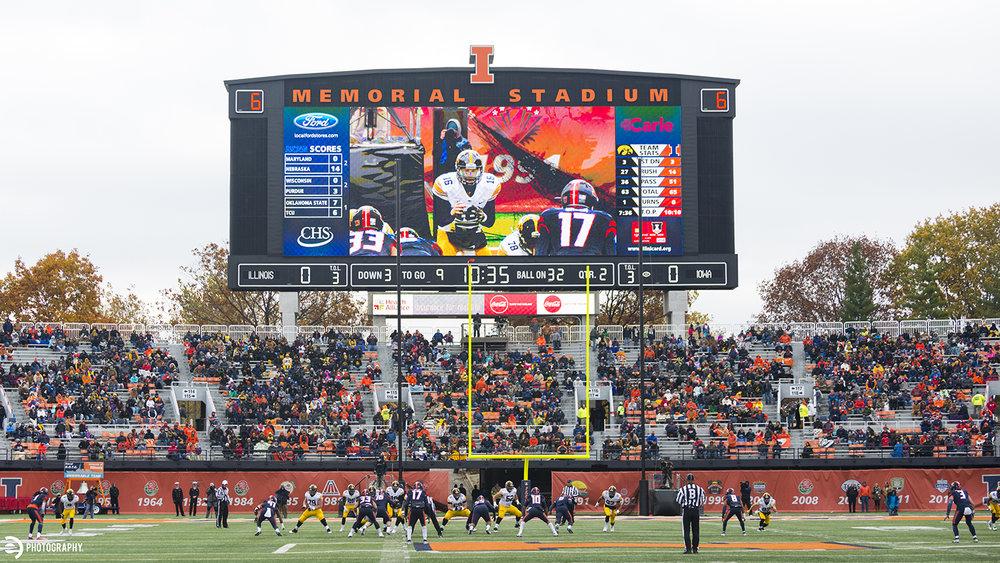 Senior quarterback leads the Iowa offense down the field at Memorial Stadium.
