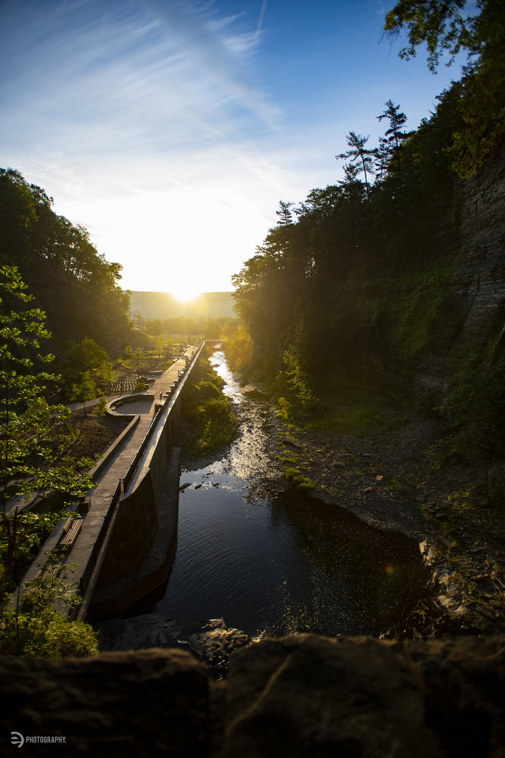 Looking back toward the main entrance to Watkins Glen State Park from Sentry Bridge at first light.