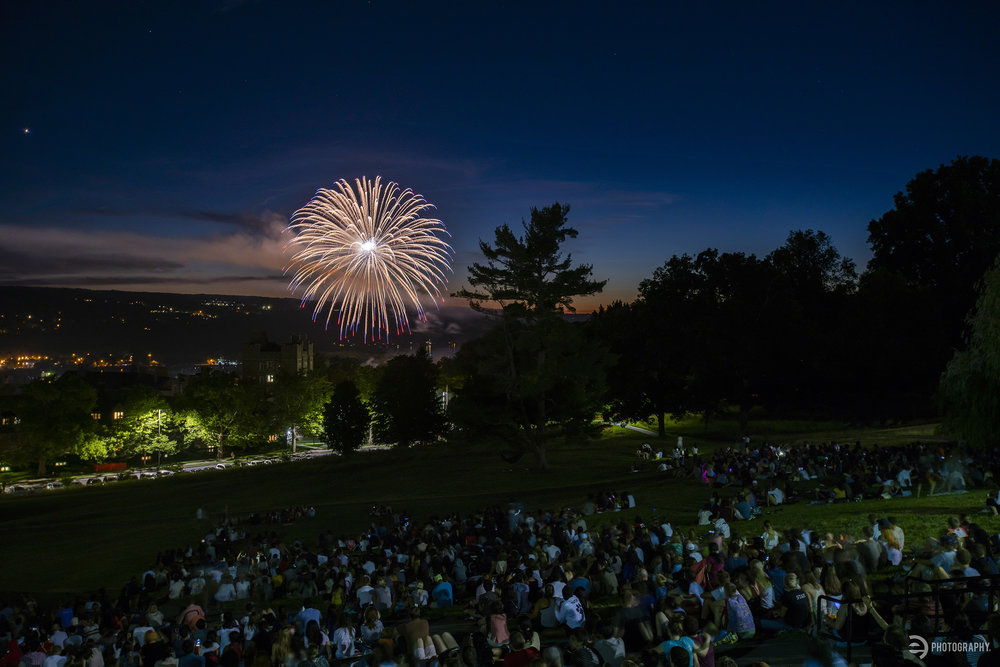 Libe Slope on Cornell University's campus was about half full for a 15-minute fireworks show taking place in Ithaca, NY on July 3, 2018.