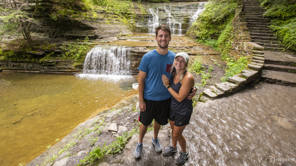 The newly-engaged couple on the Gorge Trail at Buttermilk Falls State Park in Ithaca, NY.