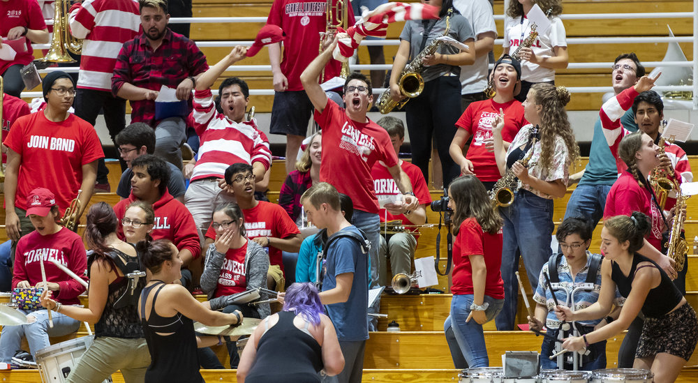 The band got really excited during the volleyball game vs Harvard. We won, 3-1. #YellCornell