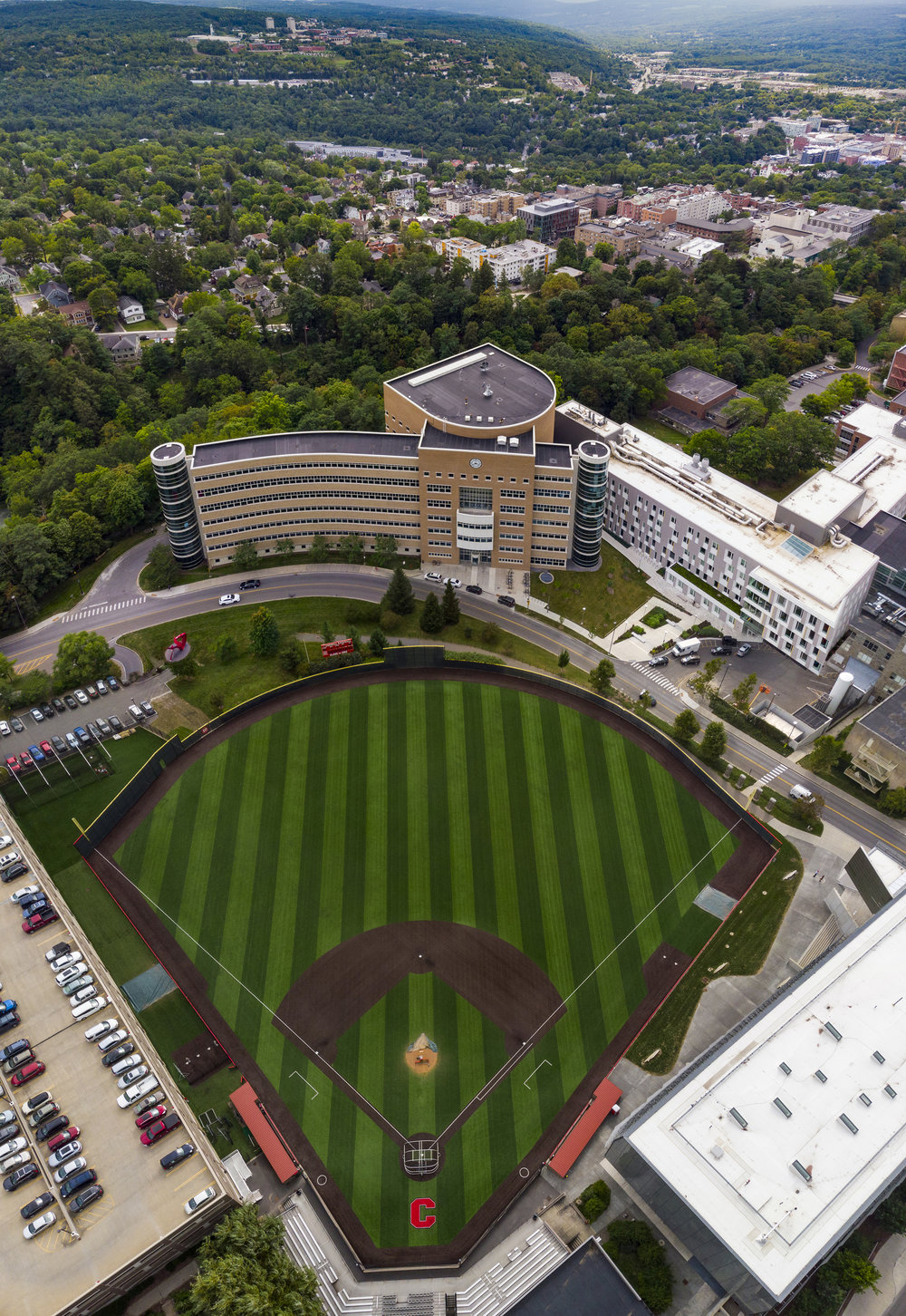 An aerial photo of Hoy Field right before baseball practice.