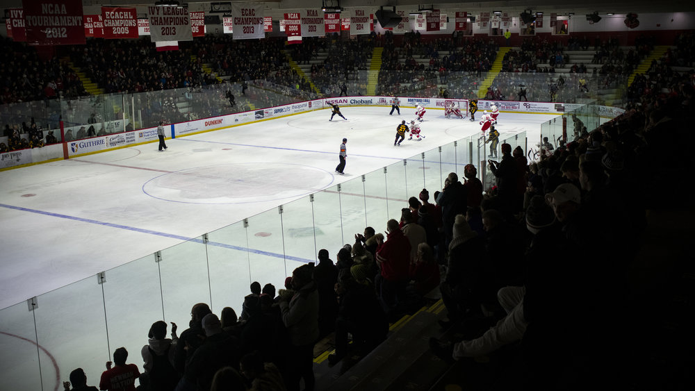 Lynah Rink at Cornell University in Ithaca, NY during the men's ice hockey game vs Arizona State University.