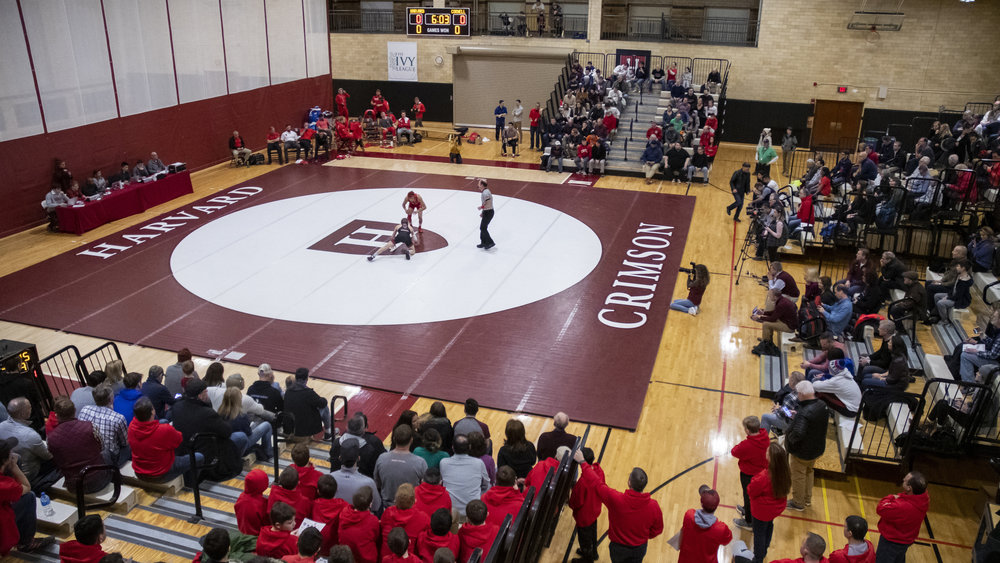 The Cornell Big Red wrestling team went on a weekend road trip to battle Ivy League opponents Brown and Harvard on Saturday, January 26, 2019. Head coach Rob Koll earned his 300th career victory with the 42-6 win over Brown and No. 301 with the 50-0 win over Harvard. (Eldon Lindsay/Cornell Athletics)