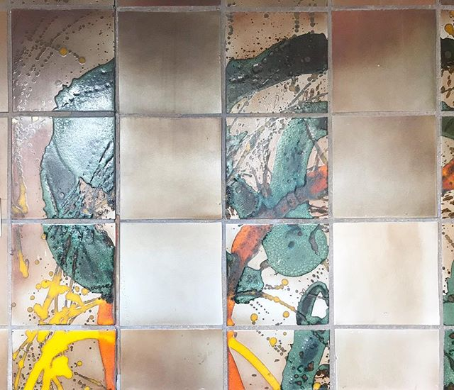 Vintage glaze experiments/kiln optimization tiles, made by Edith Heath and installed (still!) in the Sausalito tile factory.