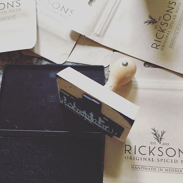 Putting our stamp on things. #mobberley #packaging #knutsford #cheshire #handstamp #ricksonsnuts #cocktailhour #wine #ale #handmade #smallbatch