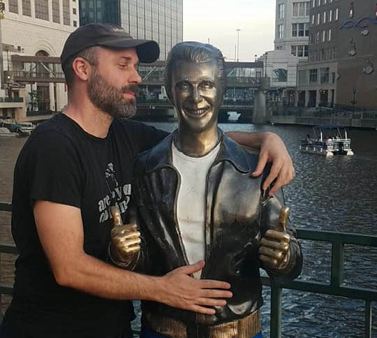 Me, inappropriately touching the Bronze Fonze. Milwaukee WI