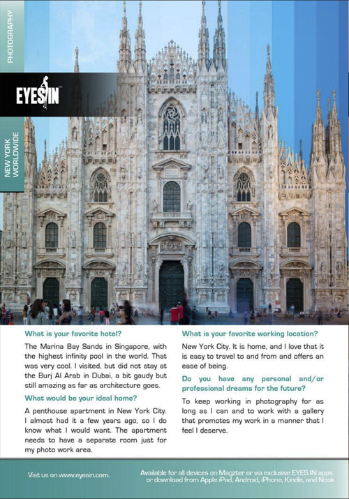 Featured in EYES IN Magazine April Issue    — Richard Silver