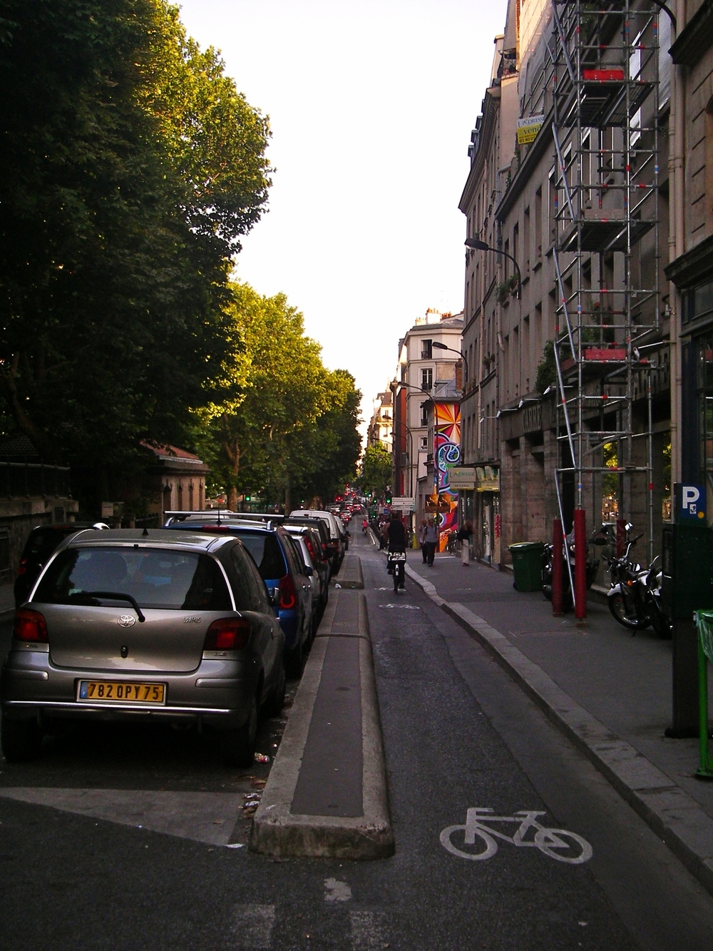 Separated bike lanes abound in Paris. This one parallels the Canal St.-Martin (on the left in this photo), which traverses the 11th and 10th  arrondissements .