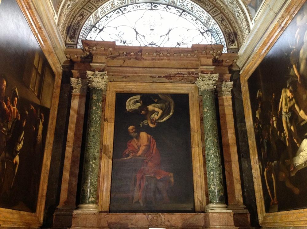 Caravaggio's triptych in the Contarelli Chapel, San Luigi dei Francesi