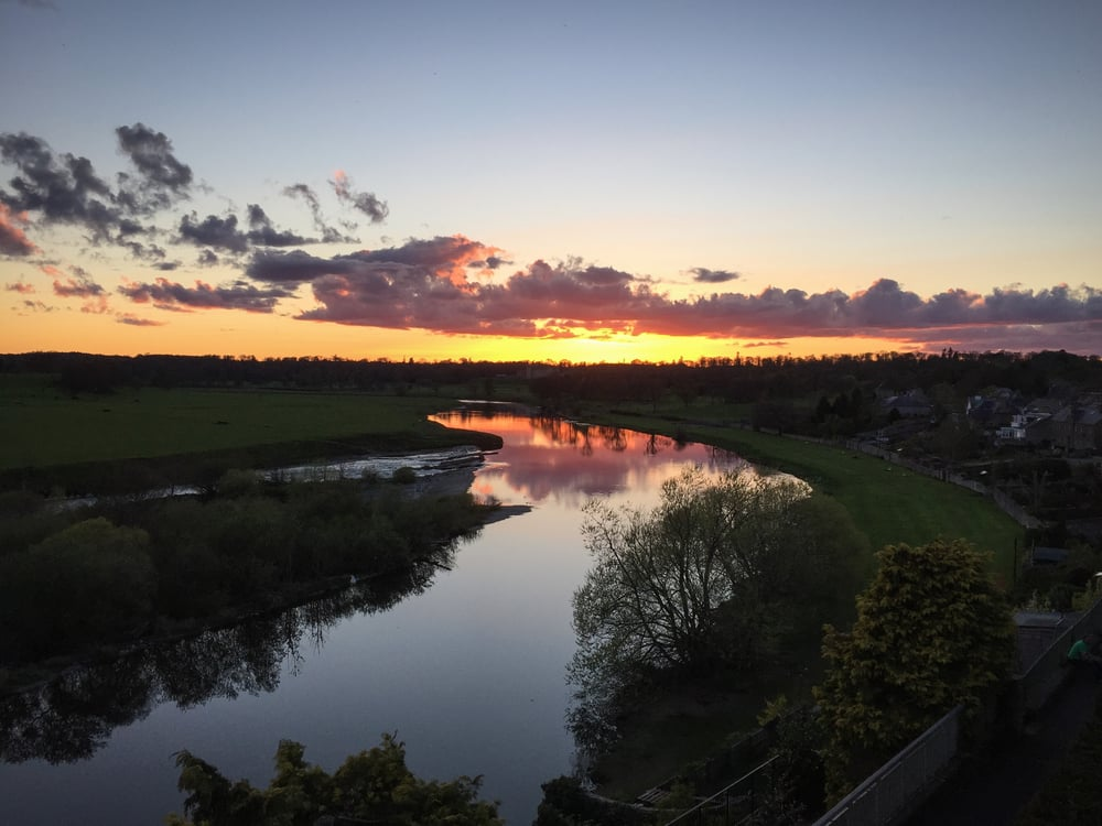 Sunset over the confluence of the rivers Tweed and Teviot