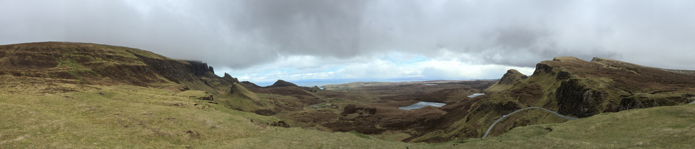 The panoramic View from Quiraing out over Staffin Bay