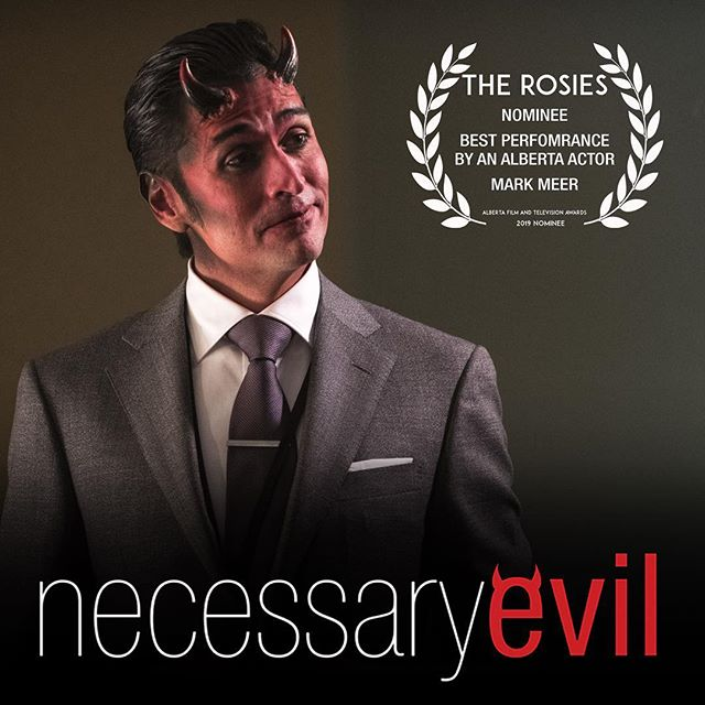And to wrap up our list of @yourampia Rosie nominations, the incomparable @mr.markmeer has received a Best Actor nod for his simultaneously hilarious and terrifying portrayal of Mephistopheles. #yeg #yegfilm #necessaryevilseries #teamevil #rosies