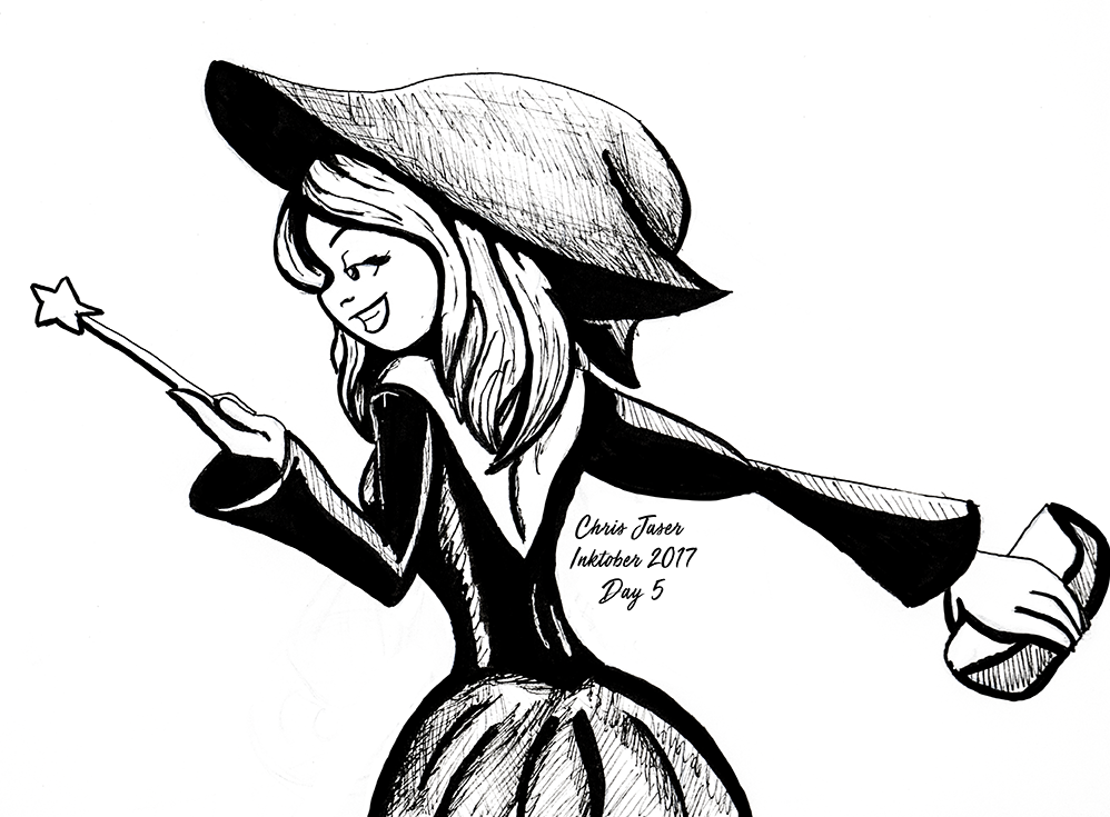 Inktober 5 Socialite Witch.png