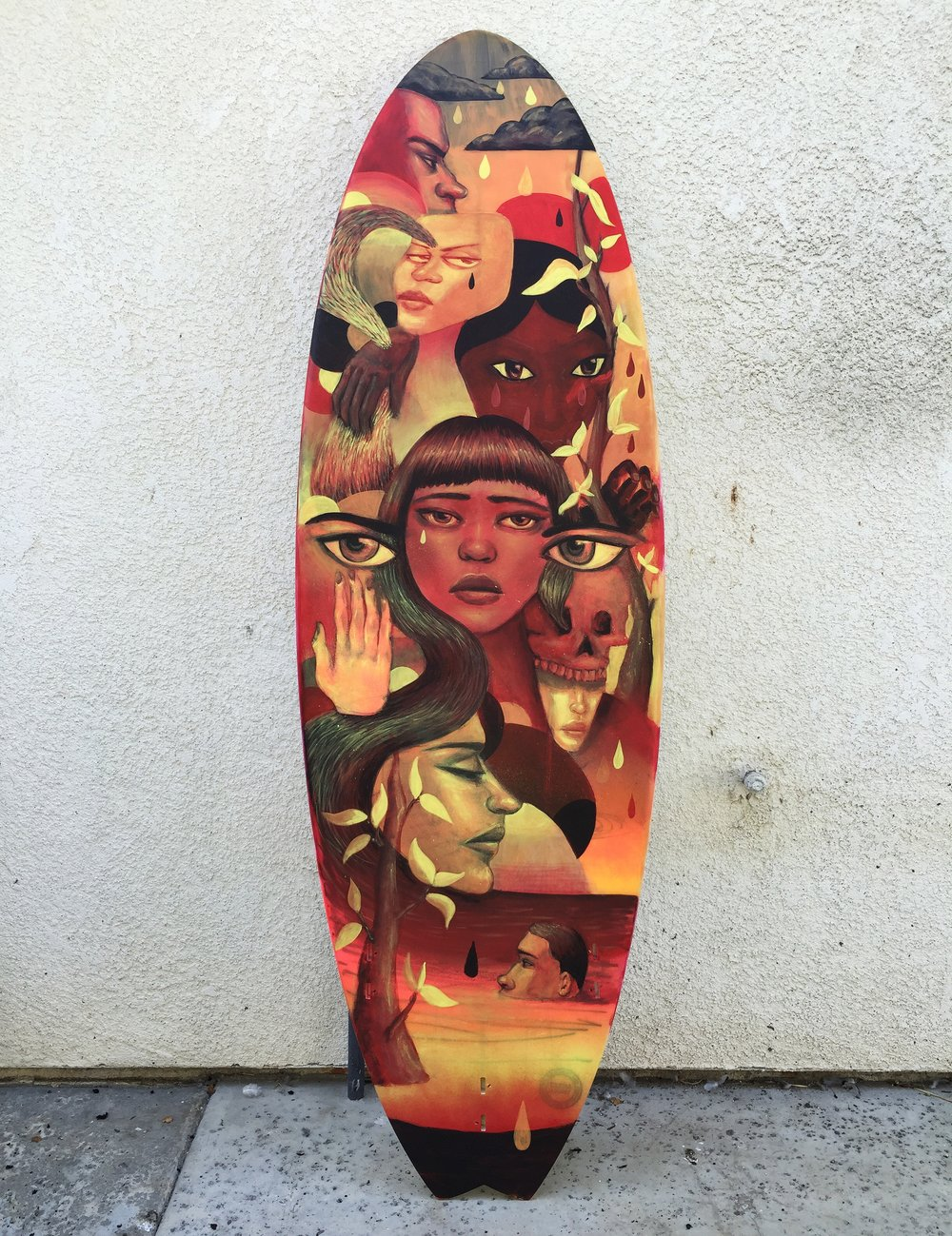Acrylic and Spraypaint on Surfboard.