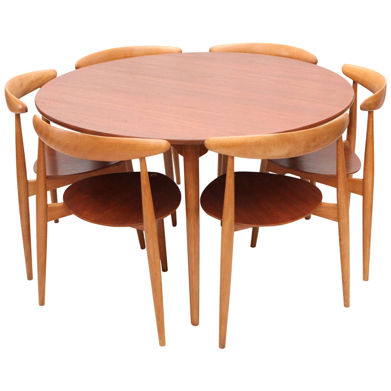 Hans Wegner Three Leg Table With Matching Three Leg Chairs