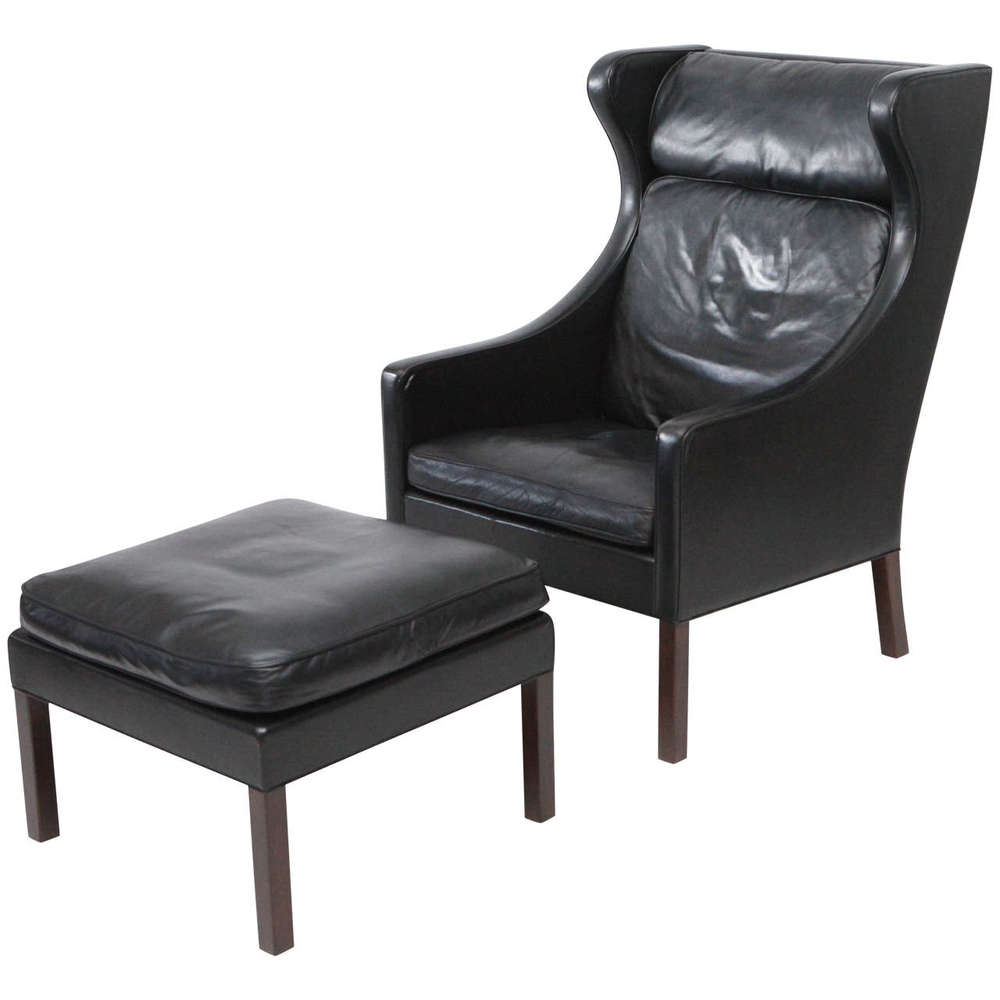 Børge Mogensen Leather Wingback Chair And Stool
