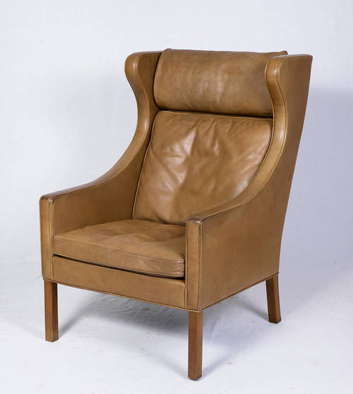 brge mogensen leather wingback chair and stool - Leather Wingback Chair