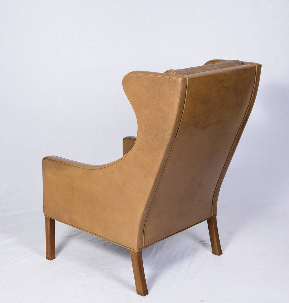 Delightful Børge Mogensen Leather Wingback Chair And Stool