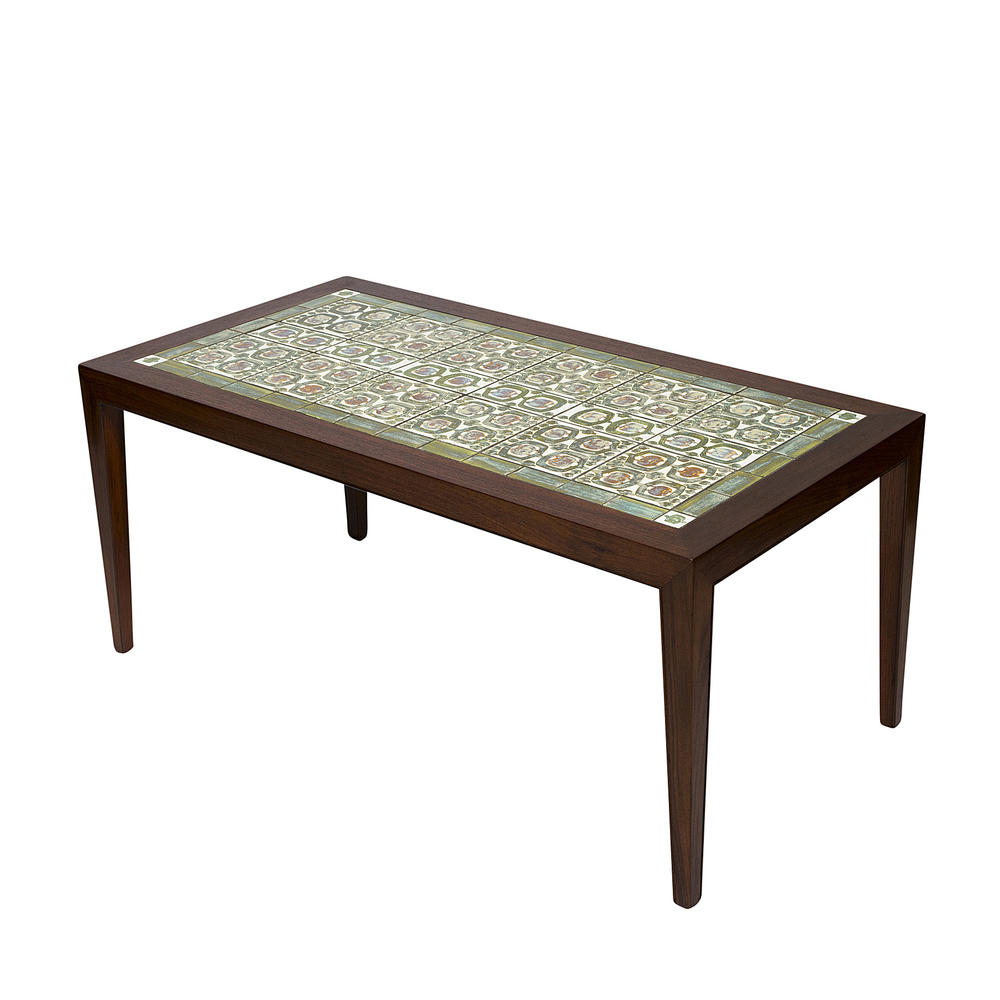 Etonnant Rosewood Coffee Table With Royal Copenhagen Tiles