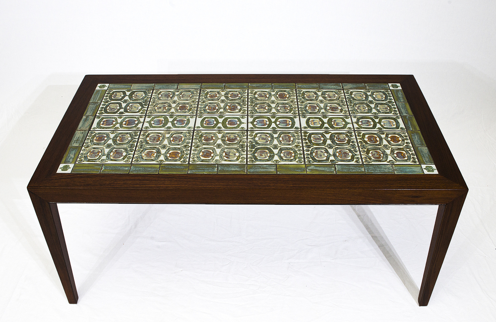 Delightful Rosewood Coffee Table With Royal Copenhagen Tiles