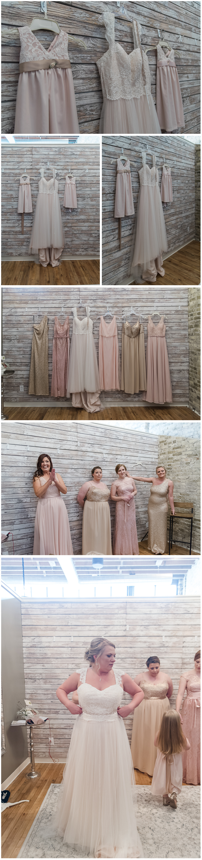 Lindsay's stunning gown was a Stella York she purchased at Bon Bon Belle located just above Mercantile! (Where Lindsay works too!). Her girls' flower girl dresses were hadmade! The mix of golds, pinks and textures were a photographer's dream!