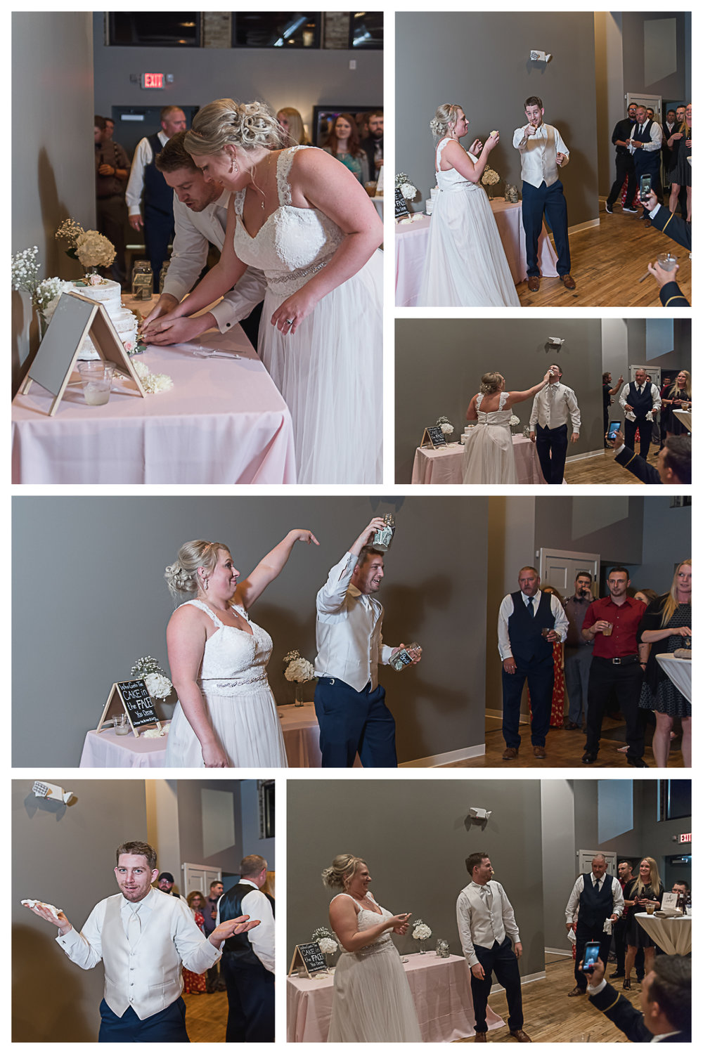 For their cake cutting, there were two jars on the table. All night guests were to put money in either jar on who got the cake in the face. Ryan clearly was the popular choice! HAHA!!