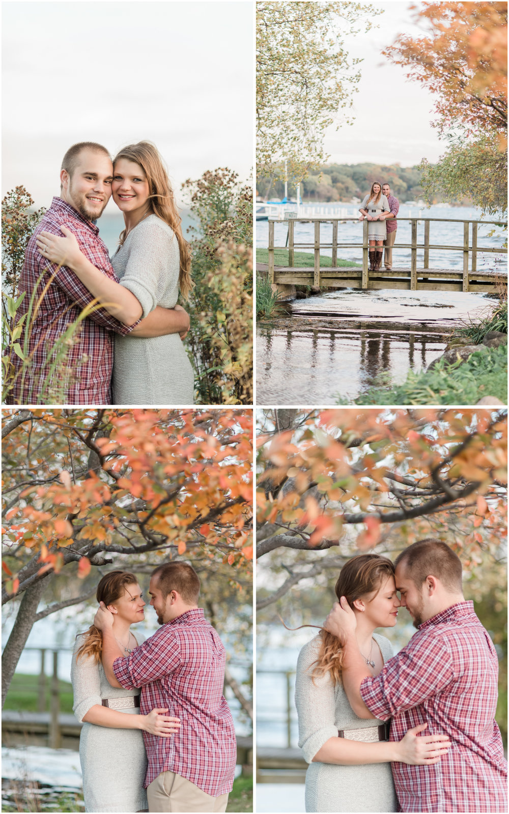 engagement photos on a bridge in fall