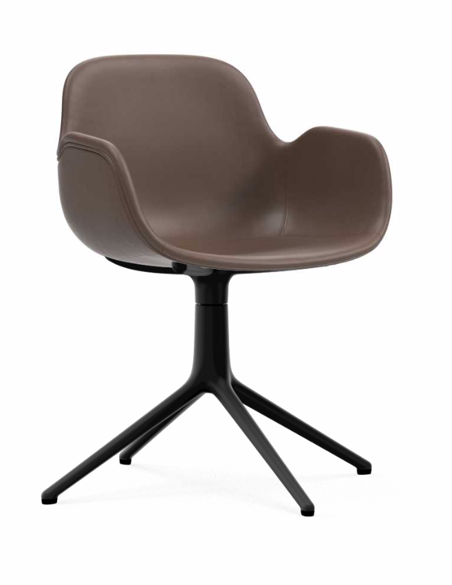 Form Upholstered Swivel Armchair With Black Aluminum Base