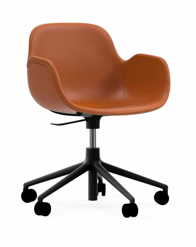 Form Upholstered Swivel Armchair   Black Aluminum Base With Castors